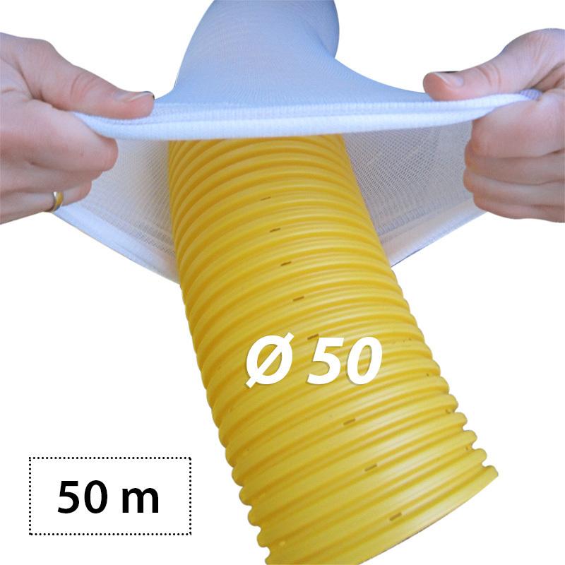 Drainagerohr dn50 mit filterschlauch als set 50m wetzel for Wohnwand 2 50 m