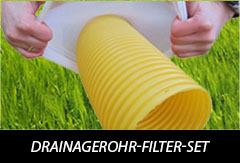 10m Drainagerohr DN100 gelb gelocht und 10m Filterschlauch F100 Profi-Set